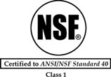 NSF - Certified to ANSI/INSF Standard 40 - Class 1